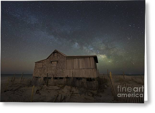 Seaside Heights Nj New Jersey Shore Hurricane Sandy Aftermath Beach Photo Photos Fireman Firefighter Firemen Dalmatian Dog Pet Fire Department Toms River Jetstar Roller Coaster Boardwalk Ocean Superstorm Greeting Cards - The Real Jersey Shore At Night Greeting Card by Michael Ver Sprill