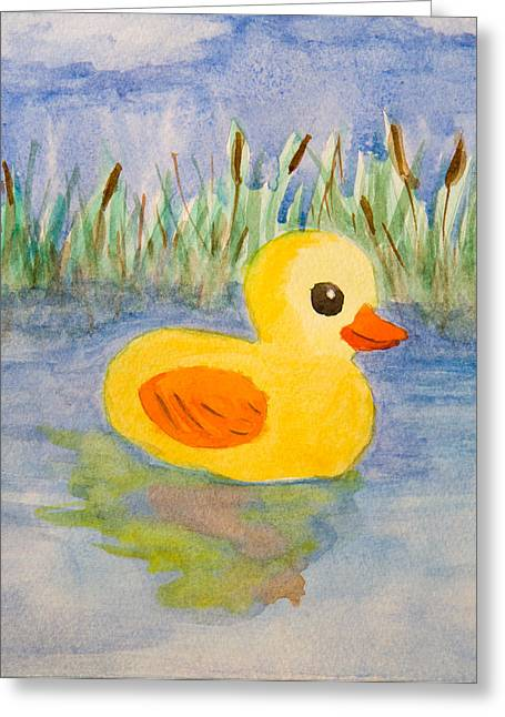 Rubber Duck Greeting Cards - The real rubber duck Greeting Card by Paul Bartoszek