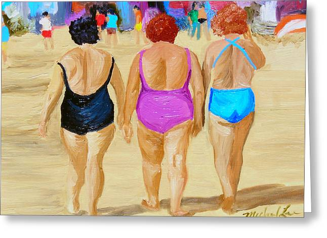 Watching The Girls Greeting Cards - The Real South Beach Greeting Card by Michael Lee