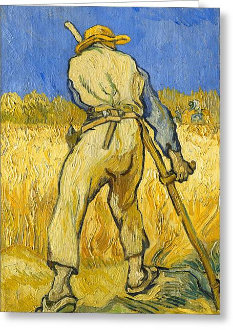 Agricultural Greeting Cards - The Reaper Greeting Card by Vincent van Gogh