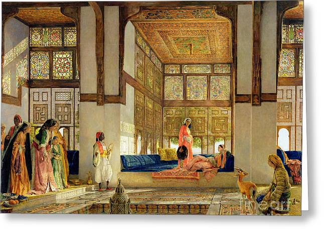 Odalisque Greeting Cards - The Reception Greeting Card by John Frederick Lewis