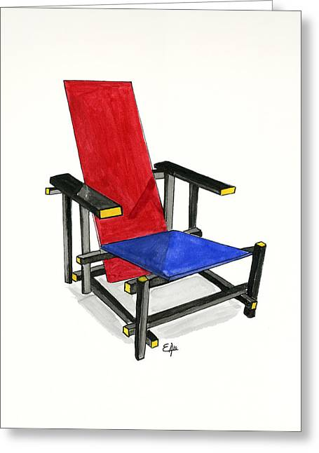 De Stijl Greeting Cards - The Red and Blue Chair - Watercolor painting  Greeting Card by Eugenia Alvarez