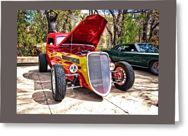 Automobile Greeting Cards - The Red and Yellow Hot Rod Greeting Card by Thom Zehrfeld