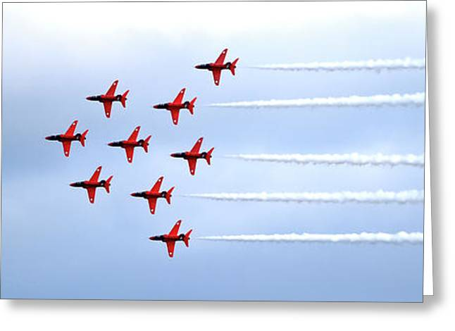 The Red Arrows Panorama Greeting Card by Terri Waters