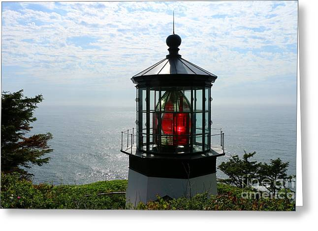 The Red Beacon On Tillamock Bay Greeting Card by Christiane Schulze Art And Photography