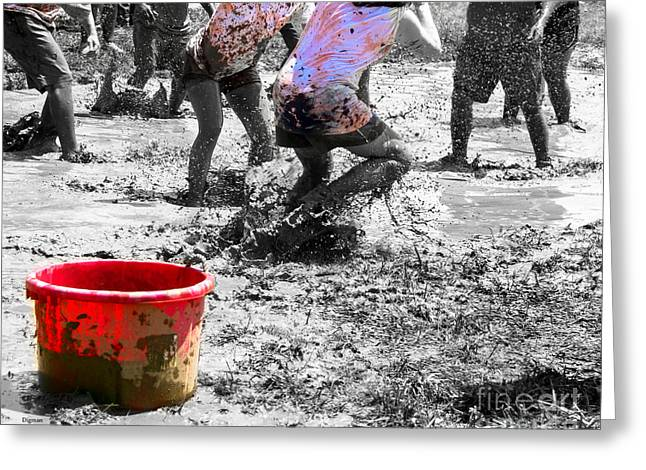 The Red Bucket  Greeting Card by Steven  Digman