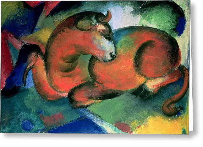 Bull Rider Art Greeting Cards - The Red Bull Greeting Card by Franz Marc