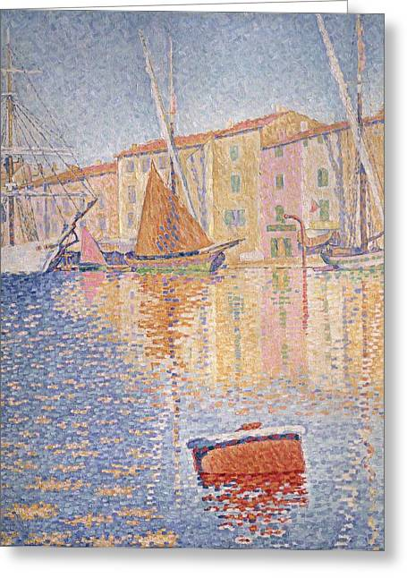 Docked Boats Greeting Cards - The Red Buoy Greeting Card by Paul Signac