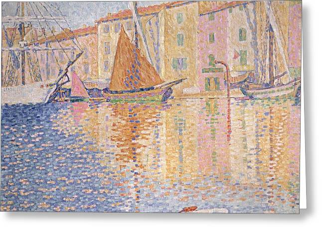 The Red Buoy Greeting Card by Paul Signac