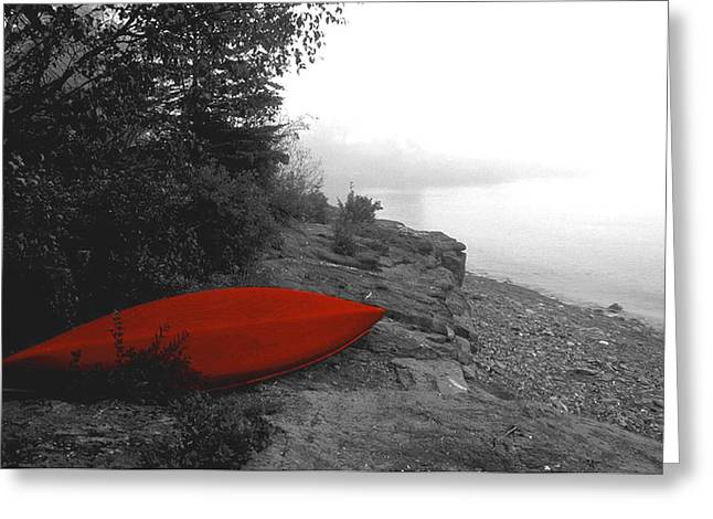 The Red Canoe Greeting Card by Carol Seefeldt