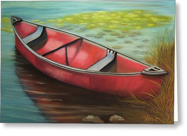 The Red Canoe Greeting Card by Marcia  Hero
