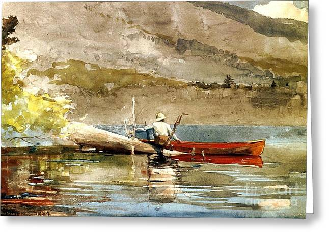 Trout Canvas Greeting Cards - The Red Canoe Greeting Card by Pg Reproductions