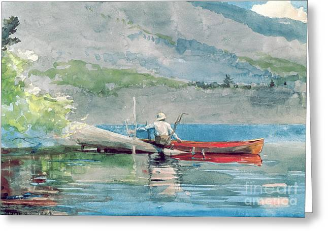 Calm Waters Paintings Greeting Cards - The Red Canoe Greeting Card by Winslow Homer
