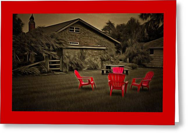 The Red Chairs In Neskowin Greeting Card by Thom Zehrfeld