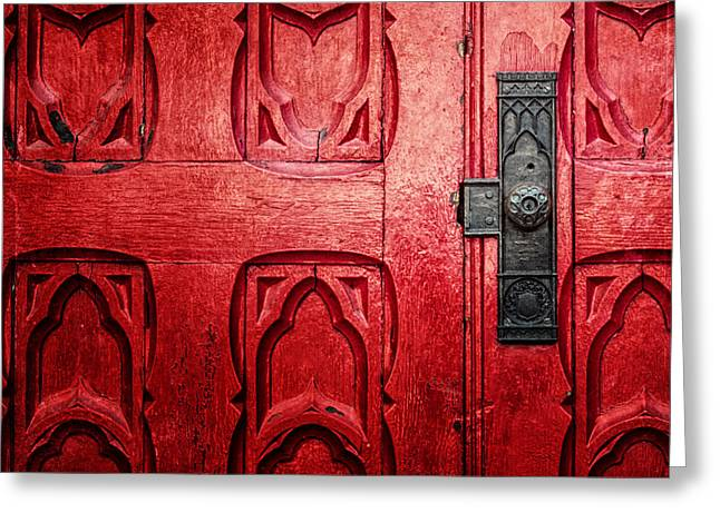 Downtown Pittsburgh Greeting Cards - The Red Church Door Greeting Card by Lisa Russo
