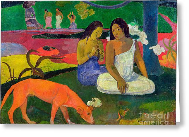 Hound Greeting Cards - The Red Dog Greeting Card by Paul Gauguin