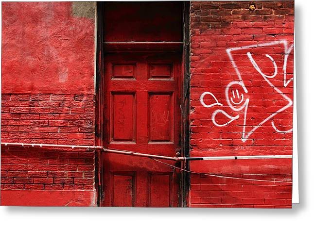 Intense Color Greeting Cards - The Red Door Bar Greeting Card by Kreddible Trout