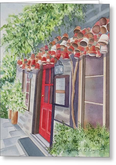 The Red Door Greeting Card by Deborah Ronglien
