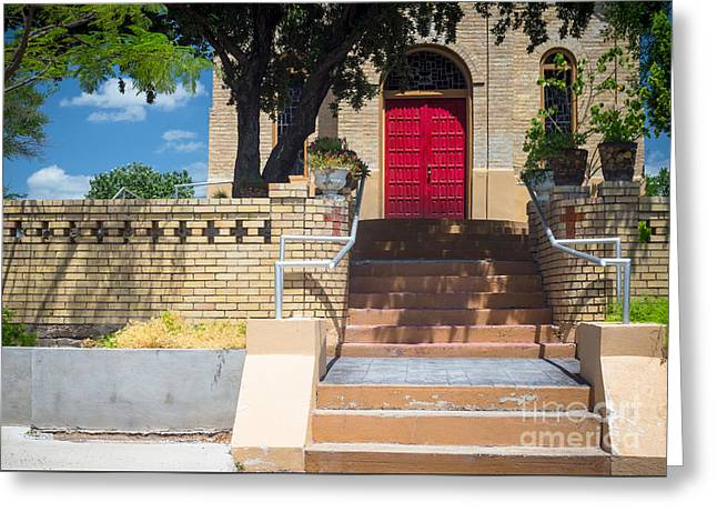 Wooden Stairs Greeting Cards - The Red Door Greeting Card by Imagery by Charly