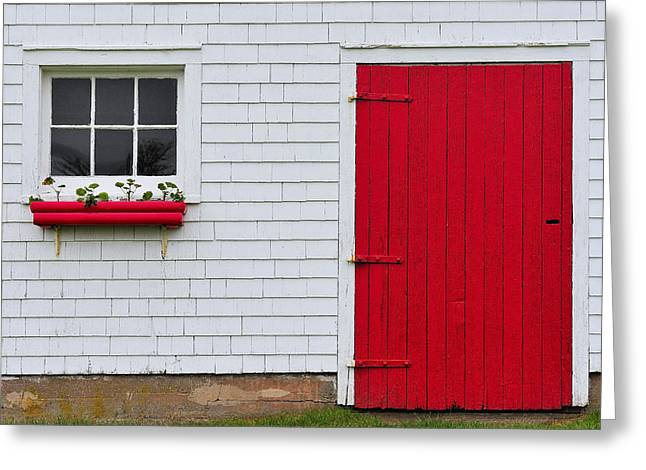 Red Geraniums Greeting Cards - The Red Door Greeting Card by Tony Beck