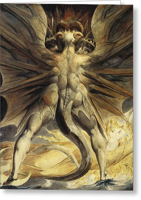 The Red Dragon And The Woman Clothed In Sun Greeting Card by William Blake