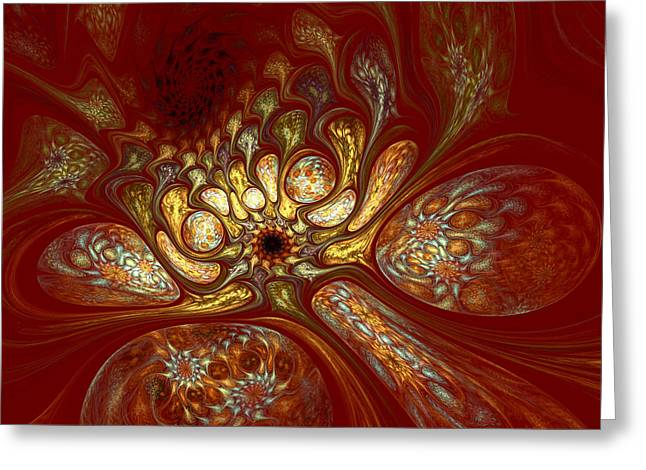 Apophysis Digital Art Greeting Cards - The Red Forest Greeting Card by Amorina Ashton