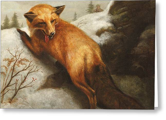 Snow-covered Landscape Greeting Cards - The Red Fox Greeting Card by Abbott Handerson Thayer