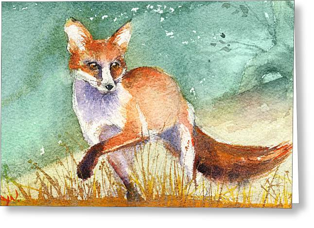 The Red Fox Greeting Card by Kristina Vardazaryan