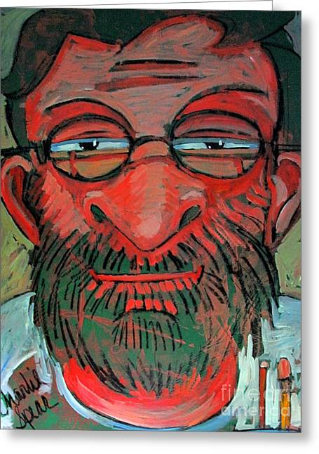 I See Greeting Cards - The Red Green Man the Artist Greeting Card by Charlie Spear