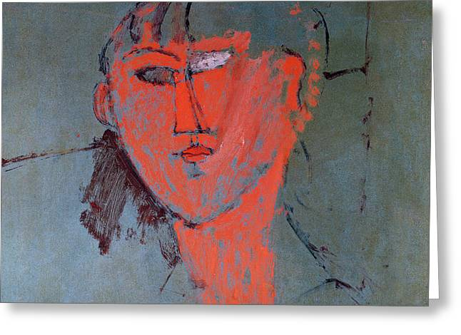 The Red Head Greeting Card by Amedeo Modigliani