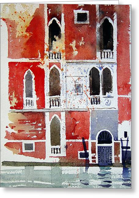 Edge Greeting Cards - The red house  Venice Greeting Card by Simon Fletcher
