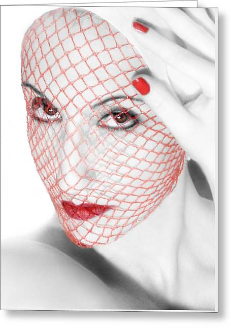 Self-portrait Photographs Greeting Cards - The Red Realm - Self Portrait Greeting Card by Jaeda DeWalt