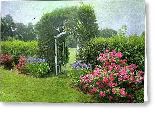 The Red Rose Trellis Greeting Card by Diana Angstadt