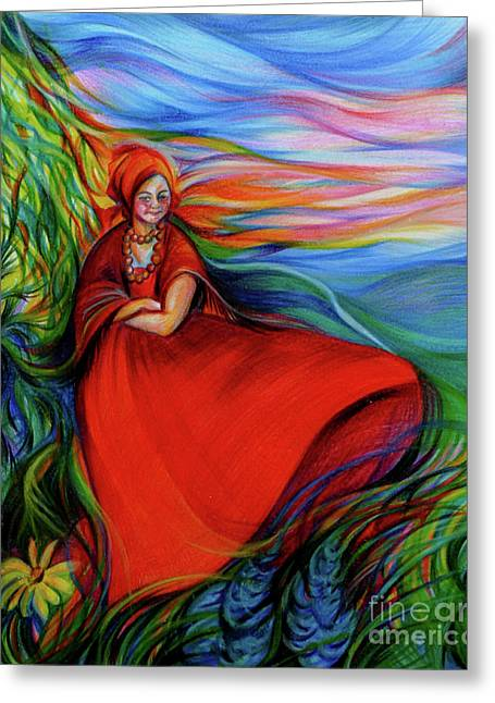 Anna Duyunova Greeting Cards - The Red Sarafan of The Summer Greeting Card by Anna  Duyunova