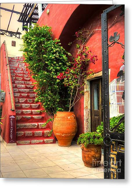 Doorway Greeting Cards - The Red Staircase Greeting Card by Michael Garyet