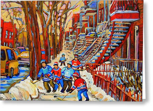 Montreal Restaurants Greeting Cards - The Red Staircase Painting By Montreal Streetscene Artist Carole Spandau Greeting Card by Carole Spandau