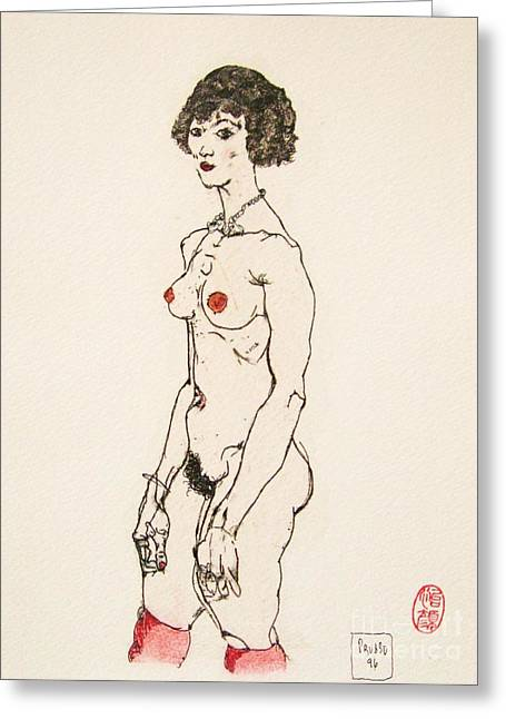 Schiele Drawings Greeting Cards - The Red Stockings Greeting Card by Roberto Prusso