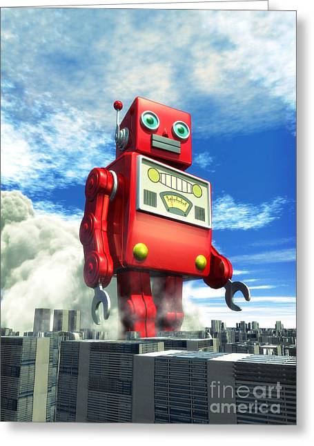 Sun Room Digital Art Greeting Cards - The Red Tin Robot and the City Greeting Card by Luca Oleastri