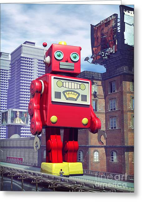 Sci-fi City Greeting Cards - The Red Tin Robot in China Greeting Card by Luca Oleastri