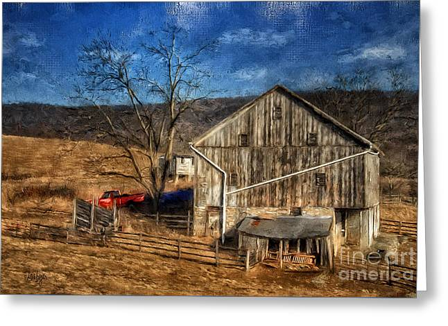 The Red Truck By The Barn Greeting Card by Lois Bryan