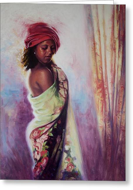 Girl In Dress Greeting Cards - The Red Turban Greeting Card by Colin Bootman