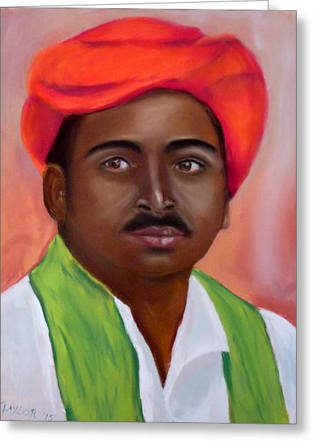Scarf Pastels Greeting Cards - The Red Turban Greeting Card by Pam Taylor