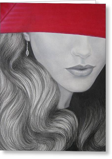 Red Lips Pastels Greeting Cards - The Red Umbrella Greeting Card by Lynet McDonald