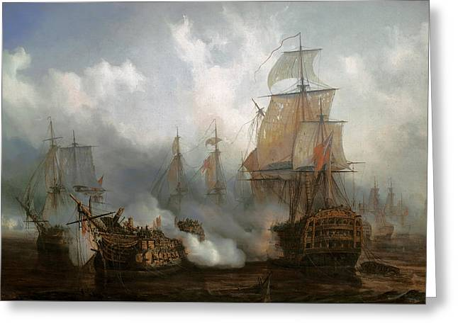 The Redoutable In The Battle Of Trafalgar, October 21, 1805 Greeting Card by Auguste Etienne Francois Mayer