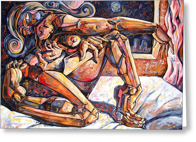Cubist Drawings Greeting Cards - The reflection of the muse Greeting Card by Darwin Leon