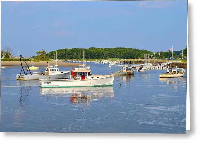 Reflections Of Sky In Water Greeting Cards - The Reflections of Cohasset Harbor MA Greeting Card by Susan Moore
