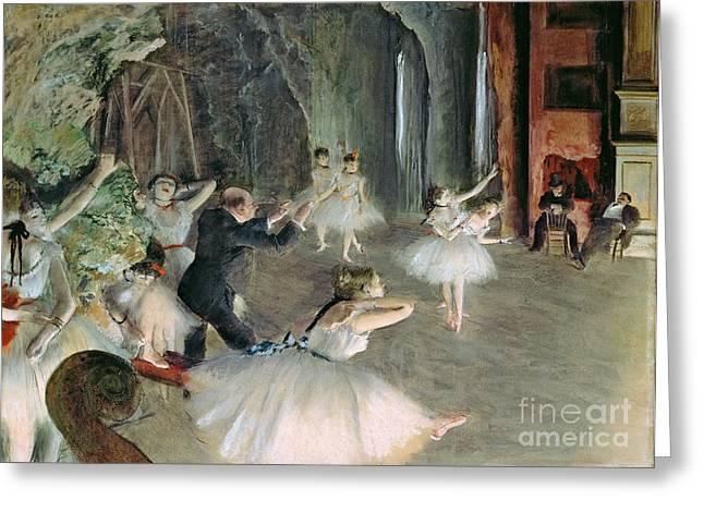 Tutus Paintings Greeting Cards - The Rehearsal of the Ballet on Stage Greeting Card by Edgar Degas