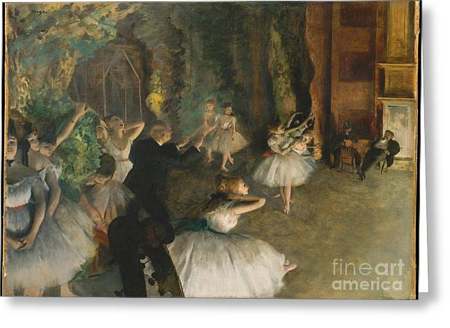 The Rehearsal Of The Ballet Onstage Greeting Card by Edgar Degas