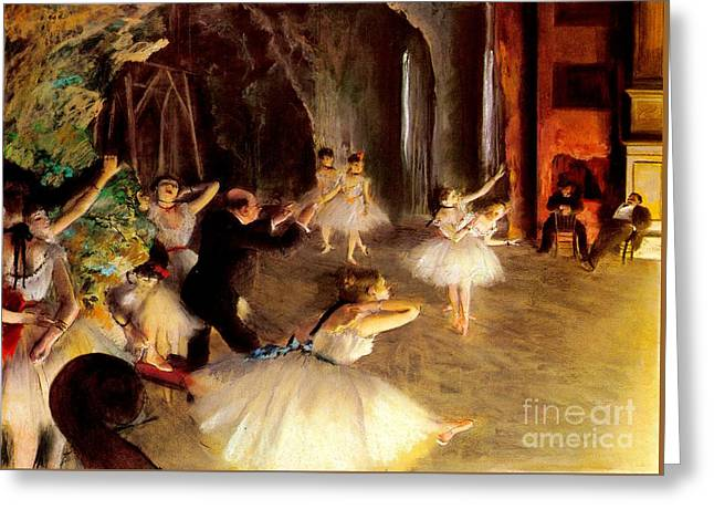 Dancer Rehearsal Greeting Cards - The Rehearsal On The Stage Greeting Card by Olivia  Bonham