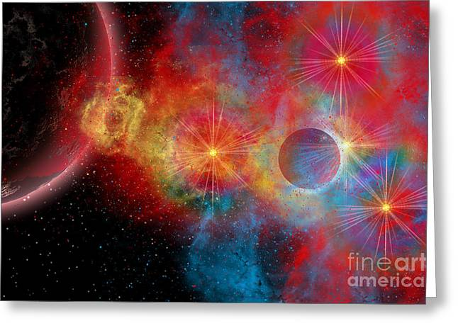 Portal Digital Greeting Cards - The Remains Of A Supernova Give Birth Greeting Card by Mark Stevenson